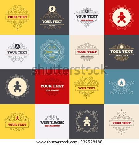 Vintage frames, labels. Information icons. Stop prohibition and attention caution signs. Approved check mark symbol. Scroll elements.  - stock photo