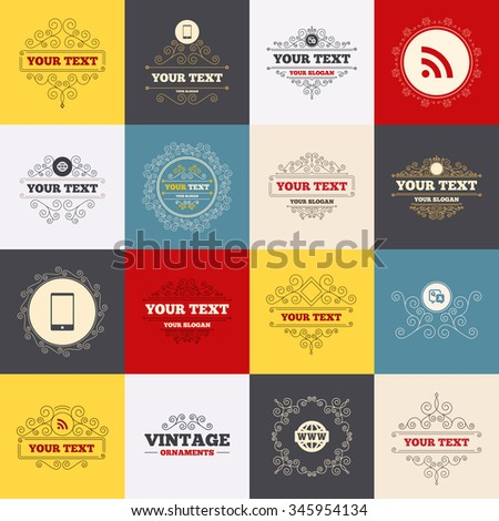 Vintage frames, labels. Question answer icon. Smartphone and Q&A chat speech bubble symbols. RSS feed and internet globe signs. Communication Scroll elements.  - stock photo
