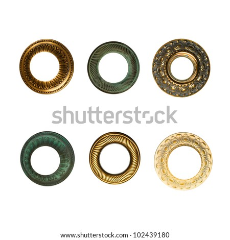 vintage frames set isolated on white background with clipping path - stock photo