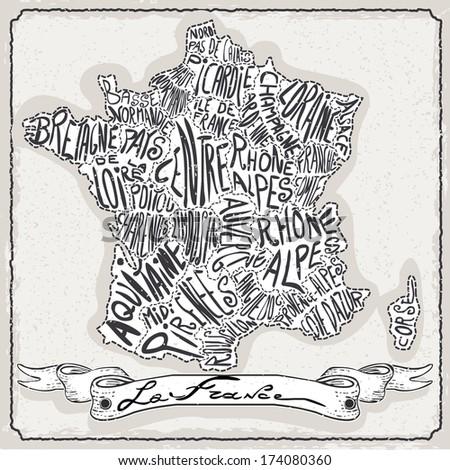 Vintage France Map Blackboard. Geographic France Chalk Board Map. Retro Vintage French typography. Chalk Handwriting French Map.Vintage Board Background Infographic Illustration - stock photo