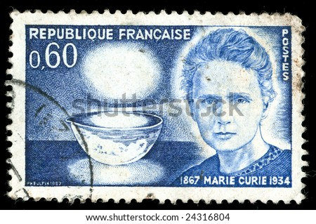 Vintage french stamp depicting Marie Curie who won two Nobel prizes in Physics and Chemistry for her work on Radioactivity and the discovery of radioactive chemical elements