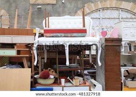 Vintage Furniture And Other Staff At Jaffa Flea Market District In Tel  Aviv Jaffa,