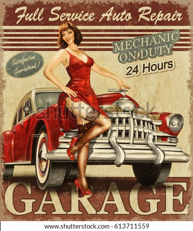Vintage garage retro poster stock illustration 613711559 for Retro images