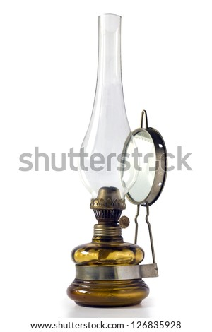 Vintage gas lamp isolated on white background - stock photo