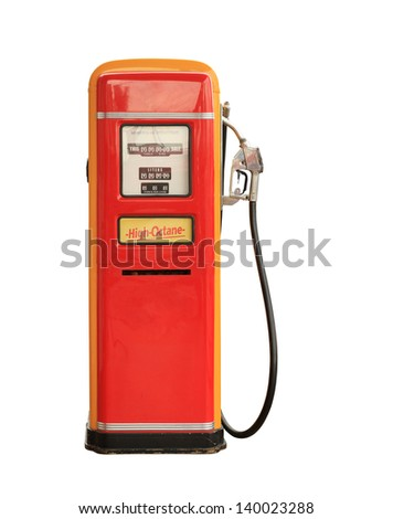 Vintage gasoline pump isolated on white background - stock photo