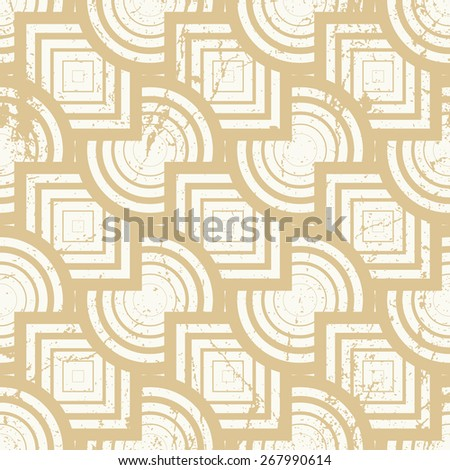 Vintage geometric seamless background, old repeat pattern with aged grunge dirty texture.