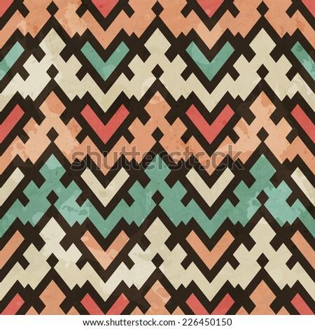 vintage geometric seamless pattern (raster version) - stock photo
