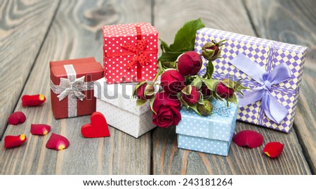 vintage gift boxes on a wooden  background