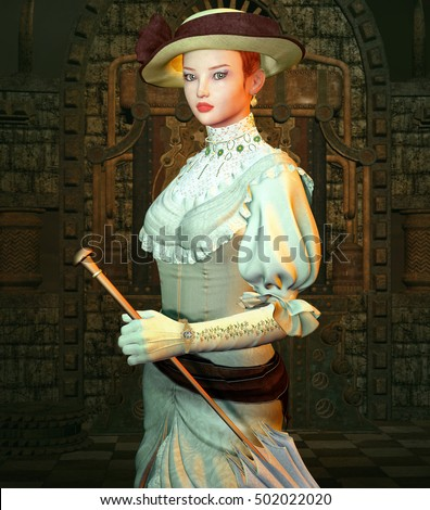 Vintage girl with parasol in a steampunk room - 3D illustration