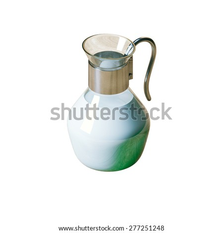 Vintage glass pitcher full of bio milk isolated on white background  - stock photo