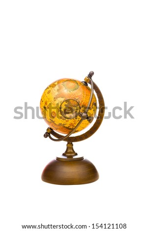Vintage Globe with Magnifying Glass on Asia isolated on white - stock photo
