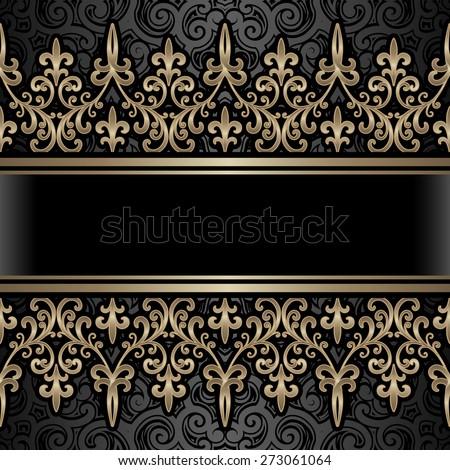 Vintage gold background, ornamental frame with golden seamless borders over pattern, raster illustration - stock photo
