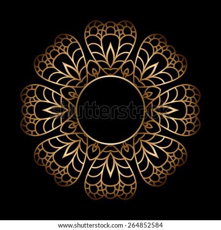 Vintage gold circle frame on black background, raster illustration - stock photo