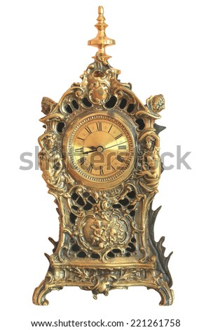 vintage gold clock on a white background