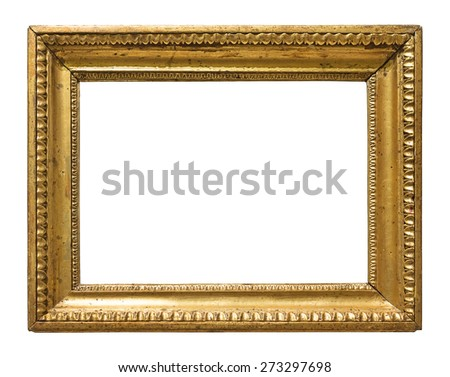 Vintage gold color picture frame isolated on white background - stock photo