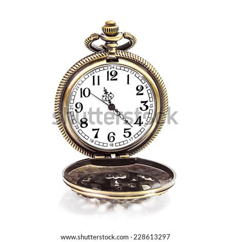 Vintage gold copper pocket clock isolated on white background