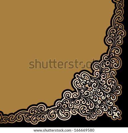 Vintage gold corner background, raster illustration - stock photo
