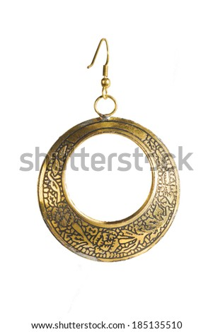 Vintage gold earrings circle. Isolated on white background - stock photo