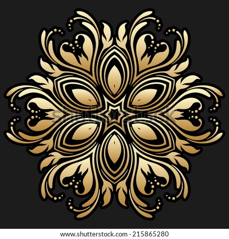 Vintage gold floral round pattern for print, embroidery. Raster version. - stock photo