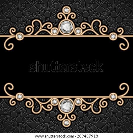 Vintage gold frame, elegant jewelry background, raster illustration - stock photo