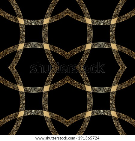 Vintage gold geometrical floral ornament. Seamless background. Raster version. - stock photo