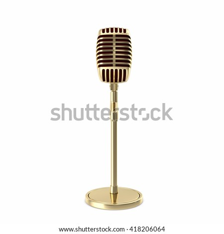 Vintage gold microphone on floor isolated. 3d illustration