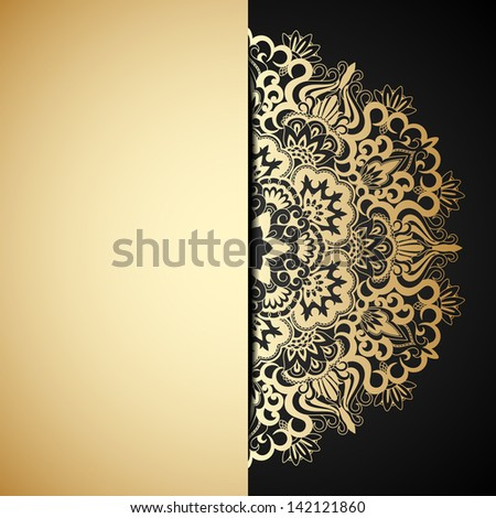 Vintage gold ornament and place for text. Raster version. - stock photo