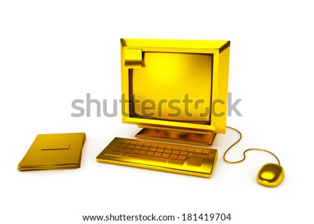 Vintage Gold PC Computer in 3D isolated on white - stock photo