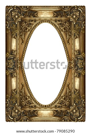 Vintage gold picture frame isolated on white - stock photo