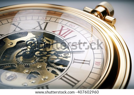 Vintage gold pocket watch. 3d rendering - stock photo