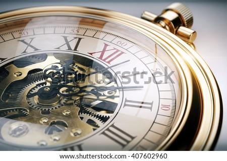 Vintage gold pocket watch. 3d rendering - stock photo