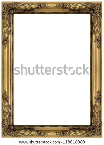 Vintage gold wooden picture frame isolated on white background