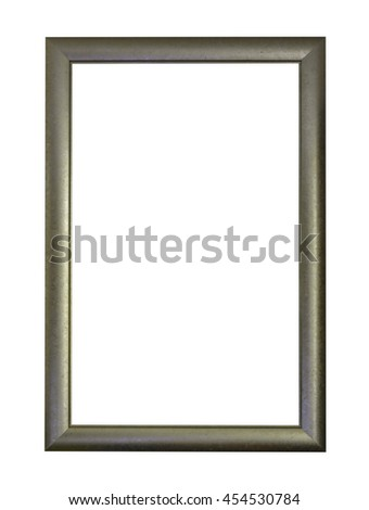 vintage gold wooden picture frame isolated on white background with clipping path