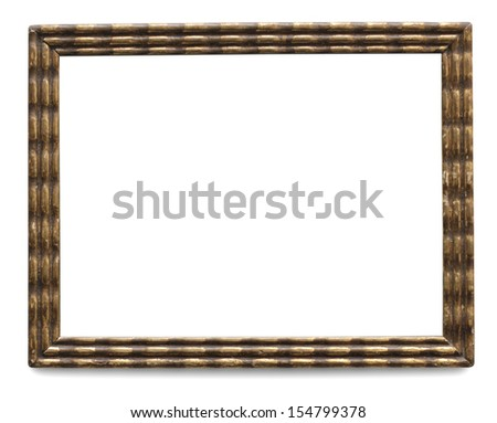 Vintage golden frame isolated with clipping path - stock photo