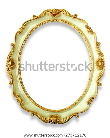 Vintage golden frame with shadow isolated on white background - stock photo