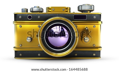 Vintage golden photo camera isolated on white background High resolution 3d  - stock photo