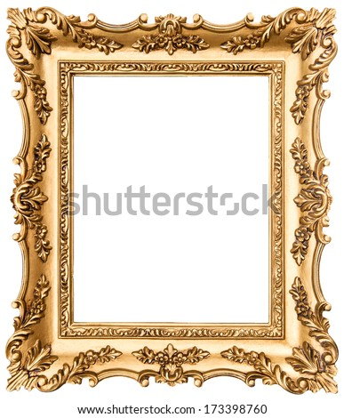vintage golden picture frame isolated on white background. antique object - stock photo