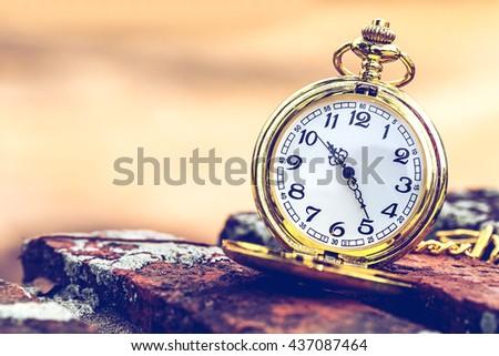 vintage golden pocket watch over blurred autumn garden background,vintage warm tone. - stock photo