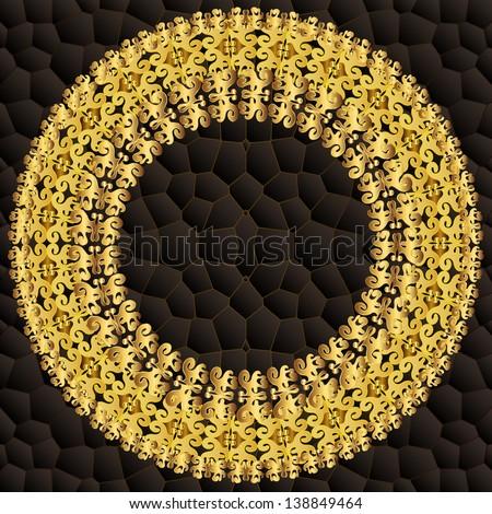 Vintage golden round frame. Raster copy of vector image - stock photo