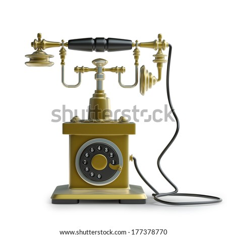 Vintage golden Telephone isolated on white background High resolution 3d  - stock photo