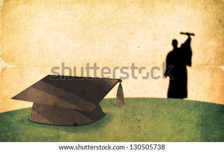 Vintage Graduation Day Concept. Textured Silhouette of a Walking Graduate. - stock photo