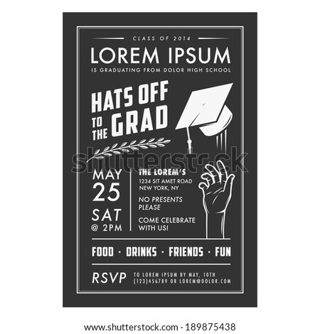 Vintage Graduation Party Invitation Card Stock Vector 189875429