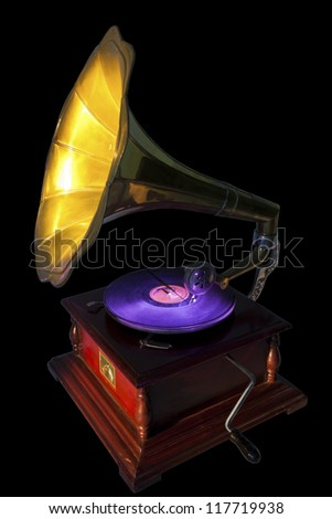 Vintage gramophone isolated on black. Clipping path included. - stock photo