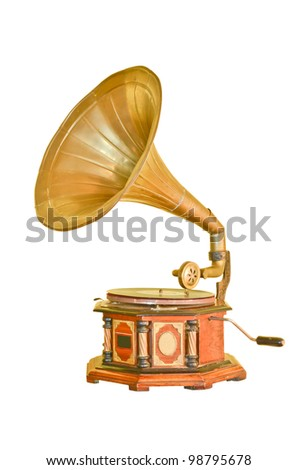 Vintage gramophone isolated on white - stock photo