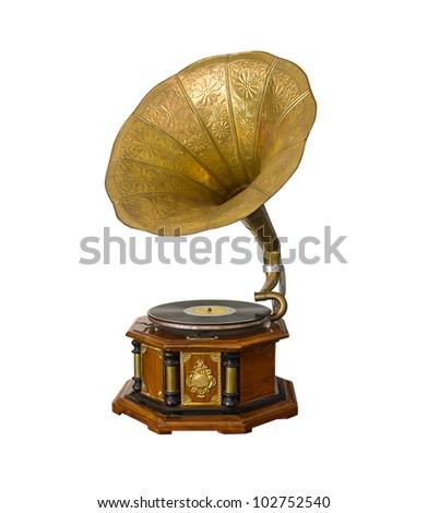 Vintage Gramophone isolated on white background - stock photo