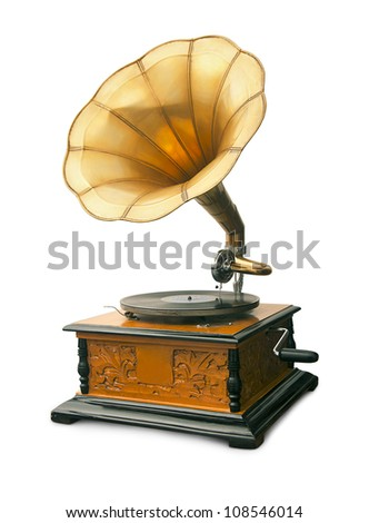 vintage gramophone isolated on white with clipping path - stock photo