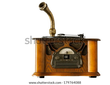 Vintage gramophone, old gramophone on white background - stock photo