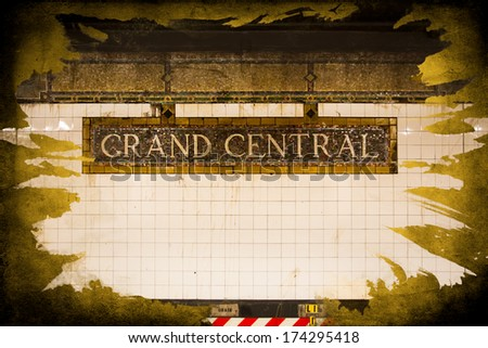 Vintage Grand Central sign in New York City subway terminal with gold texture - stock photo