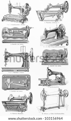 Vintage graving representing various types of sewing machine from the end of 19th century - Picture from Meyers Lexikon book (written in German language) published in 1908 Leipzig - Germany. - stock photo