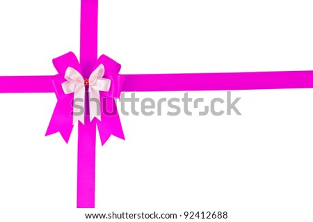 Vintage Gray color Pink bow with white background for add and design your picture on anniversary day. Such as Valentine day ,New year ,Happy Birthday...etc.